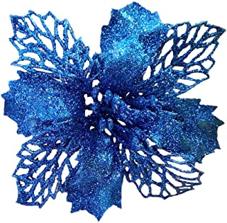 Blue New Glitter Artificial Wedding Christmas Flowers Glitter Poinsettia Christmas Tree Ornaments Pack of 12 (Blue)