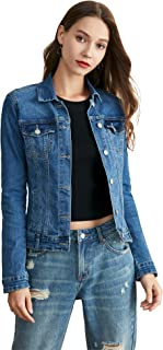 Women's Denim Jacket Long Sleeve Lightweight Classic Trucker Jackets Indigo Jean Coat