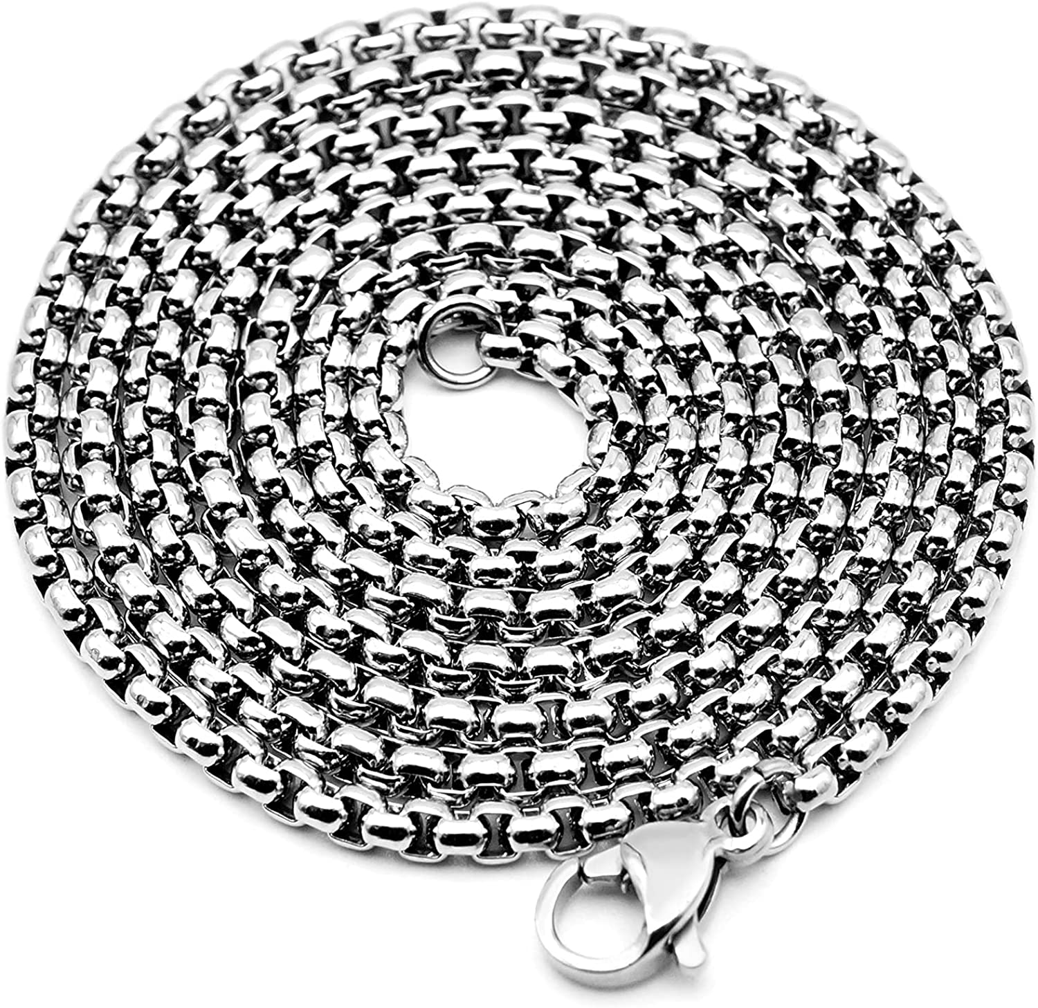 VENICEBEE Best Stainless Steel Chain Medical Grade 316L Surgical Metal Long Venetian Link Necklace 28