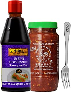 Lee Kum Kee Hoisin Sauce / Huy Fong Chili Garlic Sauce (Hoisin + Chili Garlic Sauce) with Free Vipo Brand Fork