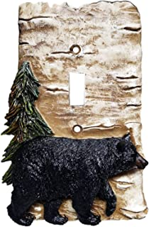 Black Bear and Birch Bark Switch Plate Cover (Single)