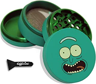 Rick and Morty Herb Grinder - Pickle Rick - SOFT TOUCH Matte Smooth 4 Piece Grinder For Herb & Spice With BONUS Scraper - ...