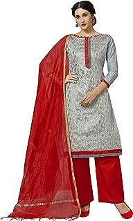 Maroosh Women'S Silk Fabric Grey Color Chudidar Free Size Dress Material