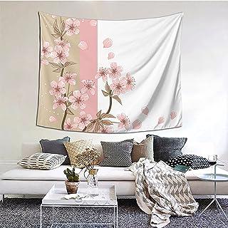 Romantiska Sakuraes Blomstrar Blommor Blomblad Vår Vind Östra Natur Tema Gobeläng 152 x 130 cm