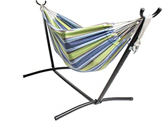 """BACKYARD EXPRESSIONS PATIO · HOME · GARDEN 914920 Two Person Hammock with Stand + Relaxing Audio Track and Luxury Carrying Case, 106"""" L x 47"""" W x 43"""" H, Ocean Stripes"""