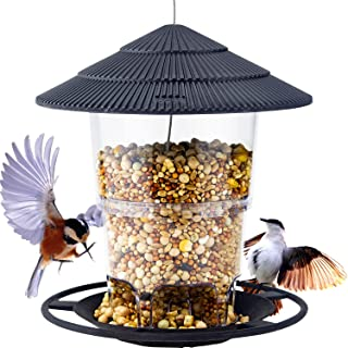 Mica Hanging Wild Bird Feeders, Round Shaped with Roof, 40 oz Panorama Gazebo Birdfeeder Avoid Weather and Water, Perfect ...