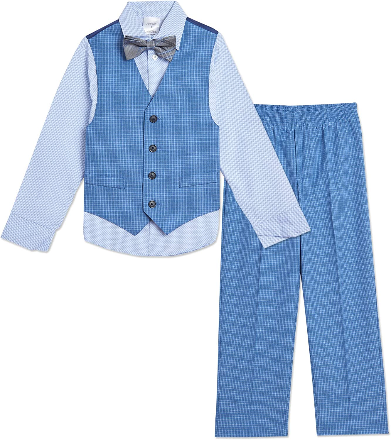 Calvin Klein Boys' 4-Piece Max 88% OFF Formal Includes Shirt with Set Regular store Dress