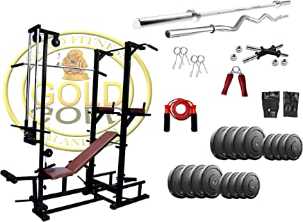 GOLD FITNESS ABS Tower with Push Up Dips and ABS Workout with 20 in 1 Bench + 85 kg Rubber Weight + 3 Ft Curl and 5 Ft Plain Rod+ Gym Accessories