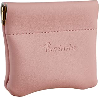 Travelambo Leather Squeeze Coin Purse Pouch Change Holder For Men & Women