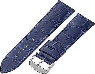 Tech Swiss LEA1870-24 24mm Leather Crocodile Blue Watch Strap