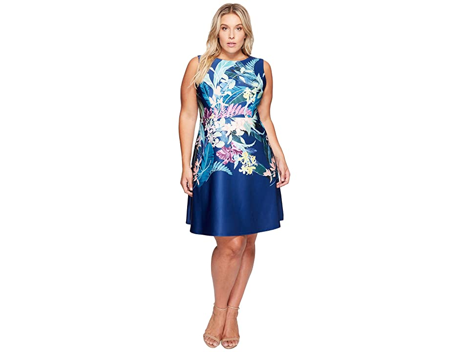 Adrianna Papell Plus Size Tropical Essence Printed Scuba Jewel Neck Fit and Flare Dress (Navy Multi) Women