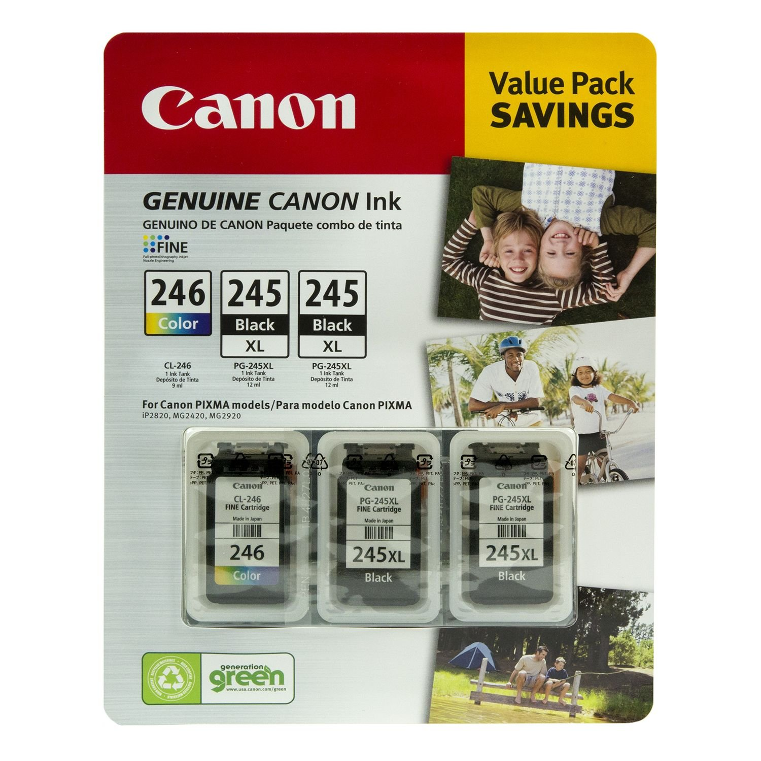 3 pk Black//Tri-Color Canon PG-245XL//CL-246 Ink Tank Cartridge