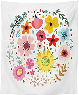 Lunarable Flower Tapestry, Abstract Flowers and Herbs with Wreath Shape Foliage Pattern for Celebration Theme, Fabric Wall Hanging Decor for Bedroom Living Room Dorm, 23