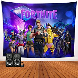 Fortnite Purple Cube Game Tapestries Video Game Theme Wall Hanging Backdrop Blanket for Boys Bedroom Living Room Dorm Decor 70.9 x 92.5 Inch