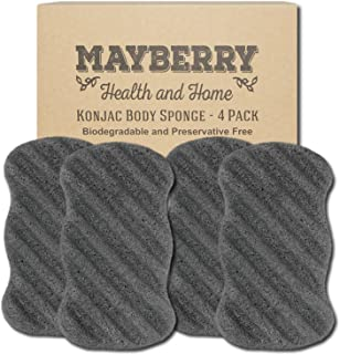Konjac Body Sponge with Bamboo Charcoal (4 Pack) Konjac Sponge Set Gently Cleans for Softer More Radiant Skin - Individual...