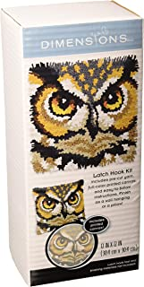 Dimensions Arts and Crafts Owl Latch Hook Kit, 12''L x 12''H