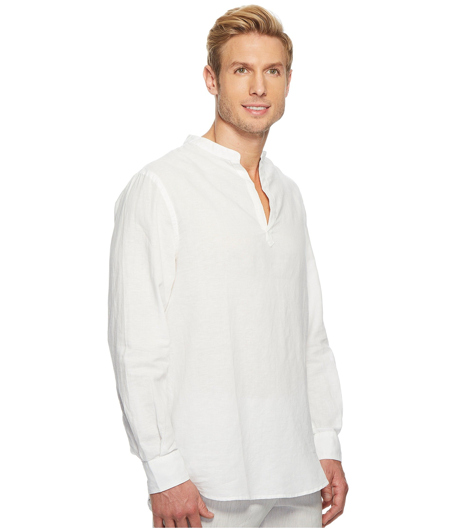 sleeve Bright Solid Ellis Cotton White Popover Linen Long Perry Shirt FEwqRWS