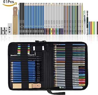 Lapices de Dibujo Artístico, Lypumso Set de Lápices Profesional Bosquejo Carbón Grafito Sticks y Lápices
