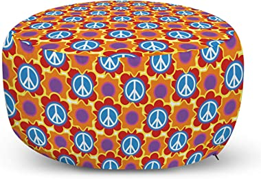 Ambesonne Hippie Ottoman Pouf, Psychedelic of Pacifism and Peach Flowers Cheerful Colors Joyful People Peace, Decorative Soft