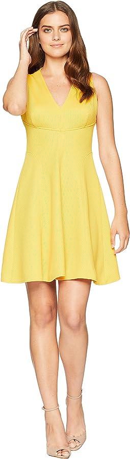 Knit Pique V-Neck Fit & Flare Dress