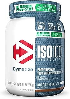 Dymatize ISO 100 Whey Protein Powder with 25g of Hydrolyzed 100% Whey Isolate, Gluten Free, Fast Digesting, Dutch Chocolate, 1.6 Pound