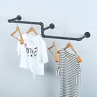 MBQQ Industrial Pipe Clothing Rack Wall Mounted, Vintage Laundry Room Rod,Wall Clothes Rods Decor Hanging Rack,Commercial Clothes Display Racks,Garment Rack/Bar,(3 Base, 39