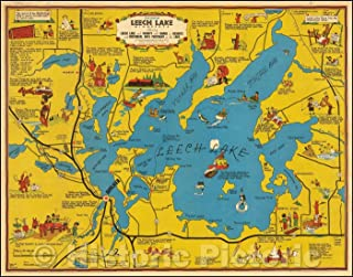 Historic Map - Cartomap Leech Lake Minnesota Showing Leech Lake and Vicinity with Roads to Resorts and Historical Data Pertinent to the Lake, 1940 - Vintage Wall Art 30in x 24in
