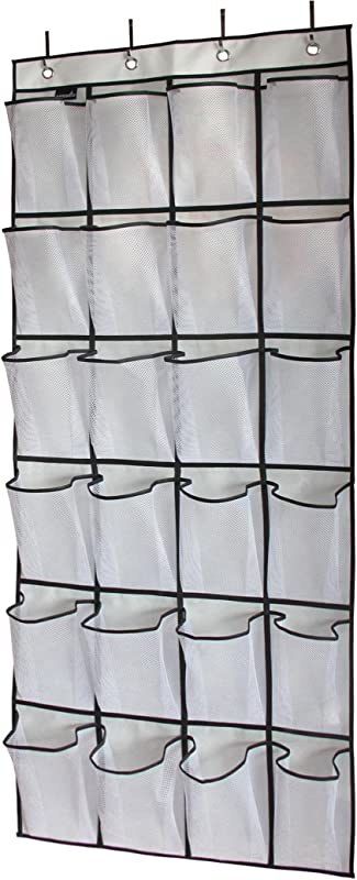 MISSLO Over The Door Shoe Organizer 24 Large Mesh Pockets White
