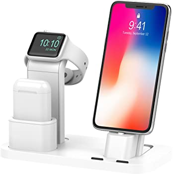 BEACOO Stand for iwatch 5, Charging Stand Dock Station for AirPods Stand Charging Docks Holder, Support for iwatch 5/4/3/2/1 NightStand Mode and for iPhone 11/X/7/7plus/SE/5s/6S
