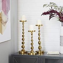Deco 79 Set of 3 Gold Aluminum Coastal Candle Holder 19, 17, 14 Inches