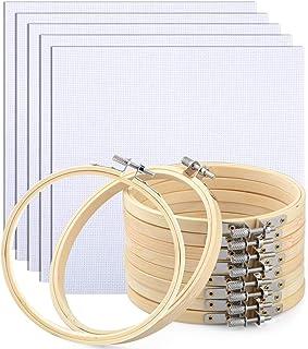 Kreise Bambus Stickrahmen und Stoff, 10 Stück, verstellbare Kreise Kreuzstich Ring mit 5 Stickerei-Stoff für Kunst Handwerk handliches Nähen