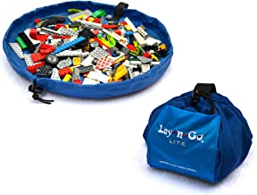 "Lay-n-Go Small Building Block Toy Storage Mat – Blue, 18"" - Drawstring Makes Easy, Quick Pick Up of Building Blocks, Toys"