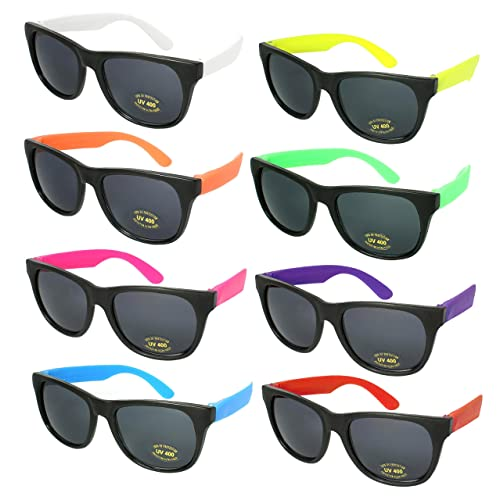 42c0d04192 Edge I-Wear 8 Pack 80 s Style Party Sunglasses Neon Party Favors for ADULT  or