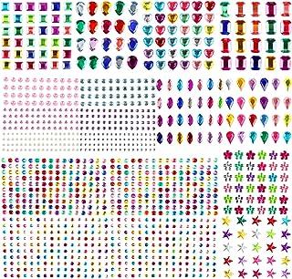 Aoligei 1209 Pièces Auto-adhésif, Autocollants strass Cristal Gem Stickers Assorti Couleurs et Formes Acrylique Coloré Gem...