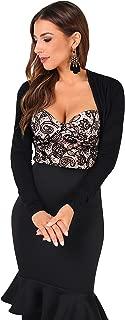 Womens Fashion Long Sleeve Vintage Lace Party Shrug Shawl Cropped Bolero