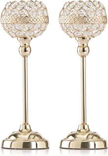 Skyera Gold Crystal Candle Holders Set of 2, Dining Table Tall Taper Tealight Candlestick Home Decoration Gifts for Valentines Day/Wedding/Thanksgiving/Birthday/Housewarming (13 Inch)