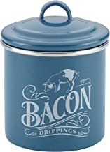 Ayesha Curry 46949 Enamel on Steel Bacon Grease Can / Bacon Grease Container - 4 Inch, Blue