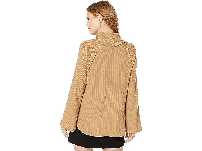 Michael Stars Madison Brushed Long Sleeve Turtleneck Raglan Top - Women Clothing
