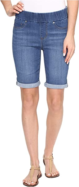 Sienna Pull-On Rolled-Cuff Bermuda in Silky Soft Denim in Coronado Mid