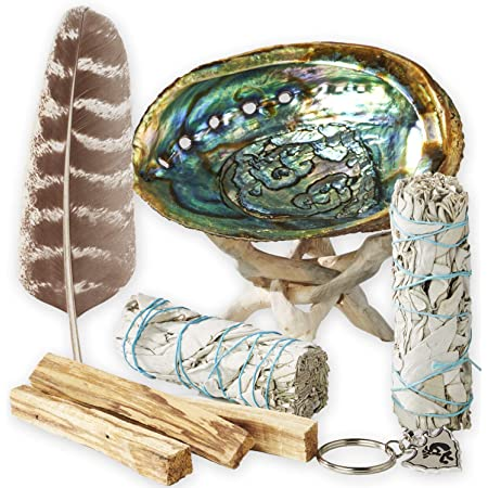 Smudge Kit - White Sage, Palo Santo, Abalone Shell, Smudging Feather, Kokopelli Keychain! Healing, Purifying, Meditating & Incense (Essentials Plus)