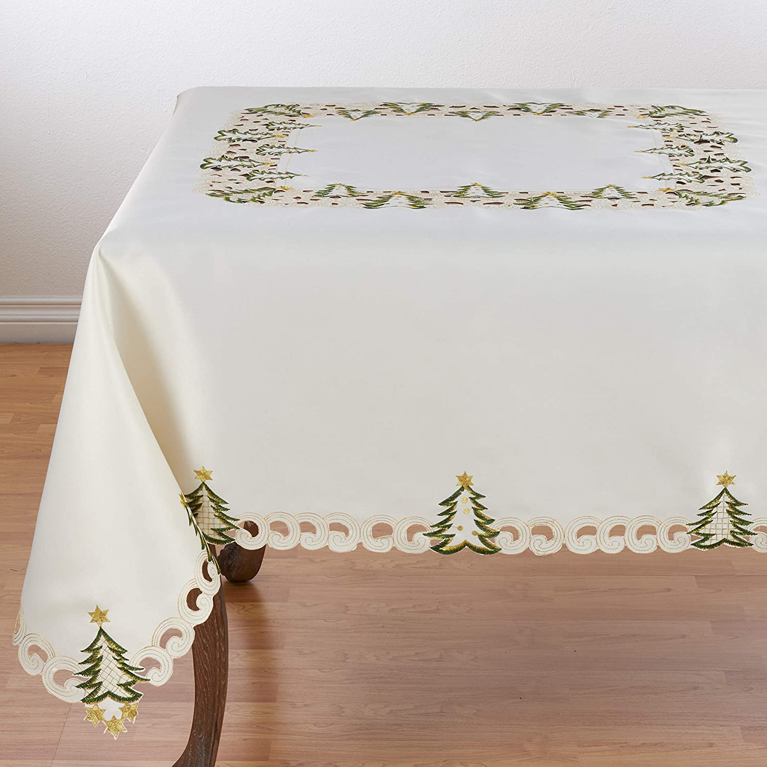 SARO LIFESTYLE QX227.I67S Pandgold Collection Christmas Tree Designtablecloth, 67 , Ivory