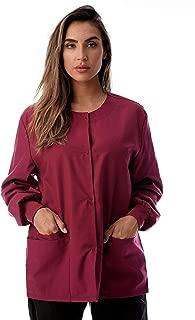 Womens Solid Medical Scrub Jacket Nurse Uniform Lab Coat
