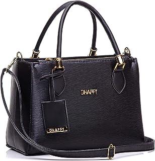 Bolsa Feminina Dhaffy Preto, Alça de Mão e Transversal. cor:preto;tamanho:M