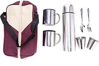 Xena 10 Piece Elegant Brushed Stainless Steel Travel Coffee Tea Tote 500ml Thermos 2 Mug with Lid 4 Cup Spoon and Fork Magenta Tan Carrying Bag Set, 6.5 x 10.5 x 3 Inch Picnic Camping Outdoor BBQ