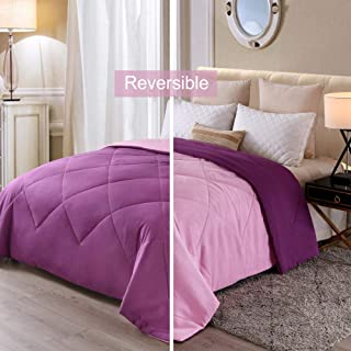 Exclusivo Mezcla Lightweight Reversible Down Alternative Quilted Comforter Duvet for All Seasons, Twin Size, Purple