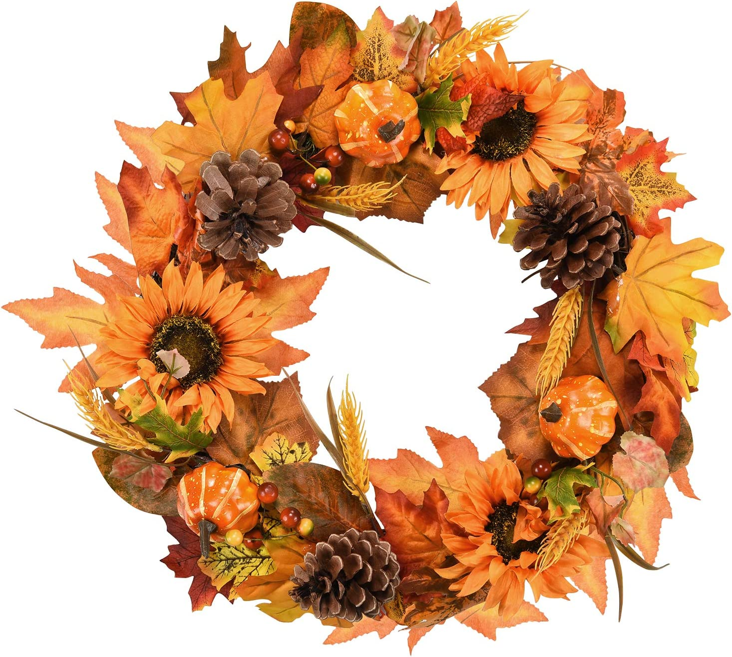 Dolicer Artificial Maple Leaf Wreath Pumpkins Pi Fort Worth Mall with Super beauty product restock quality top! Sunflowers