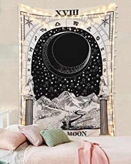 Romantic Tarot Tapestry The Moon The Star The Sun Tapestry Medieval Europe Divination Tapestry Wall Hanging Tapestries Mysterious Wall Tapestry for Home Decor (The Moon, 51
