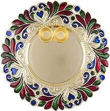 YADNESH Diwali/Rakshabandhan Collection(Pack of 1) Small Size Designer Pooja Thali Traditional Metallic Finished Pooja Thali for Diwali/Diwali Pooja/Diwali Decor with 2 katoris