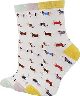 Pomlia Women's Haute Dachshund Dog Socks Casual Crew Socks