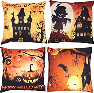 ZUEXT Halloween Thanksgiving Decorative Throw Pillow Covers Set of 4 18 x 18 Inch for Fall Harvest Easter, Bat Pumpkin Monster Cotton Linen Cushion Cover Pillow Case for Car Sofa Bed Couch 45 x 45 cm